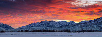 Art Print featuring the photograph Heber Valley Panoramic Winter Sunset. by Johnny Adolphson