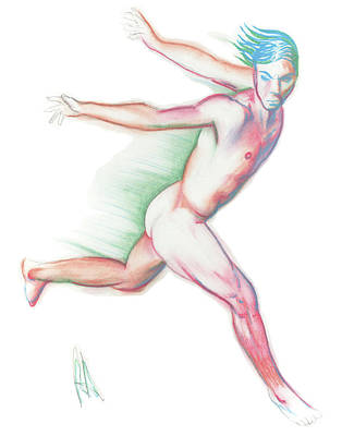 Male Nude Drawing Drawing - Hebook #02088 by Rock Archibold