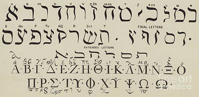 Typography Drawing - Hebrew And Greek by English School