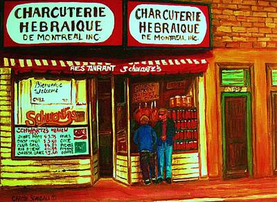 Montreal Judaica Painting - Hebrew Delicatessen by Carole Spandau
