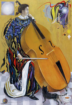 Bass Cello Painting - Hebrew Meditations by Annael Anelia Pavlova