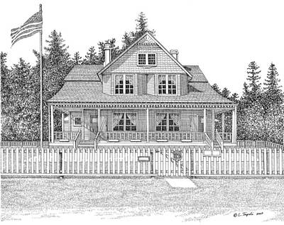 Drawing - Heceta Head Bed And Breakfast by Lawrence Tripoli