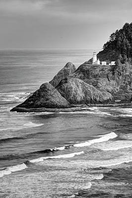 Photograph - Heceta Head Light In Black And White by Harold Rau