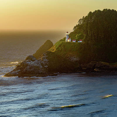 Heceta Head Lighthouse At Sunset Art Print
