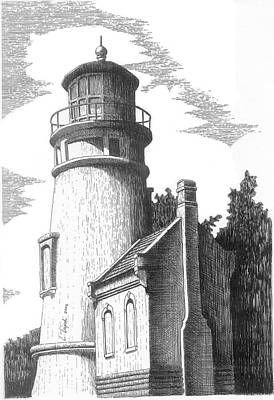 Drawing - Heceta Head Lighthouse by Lawrence Tripoli