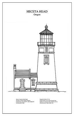 Lighthouse Digital Art - Heceta Head Lighthouse - Oregon - Blueprint Drawing by Jose Elias - Sofia Pereira
