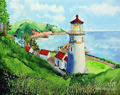 Painting - Heceta Head Lighthouse by Tom Riggs