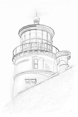 Art Print featuring the photograph Hecitia Head Lighthouse Sketch by Jeffrey Jensen