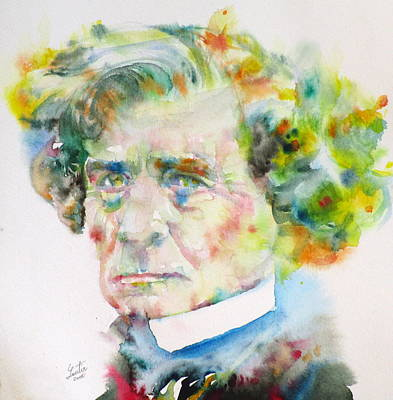 Painting - Hector Berlioz - Watercolor Portrait by Fabrizio Cassetta