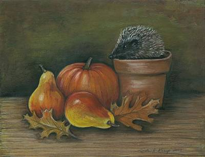 Painting - Hedgehog In Flower Pot by Linda Nielsen