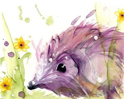 Painting - Hedgehog In The Wildflowers by Dawn Derman