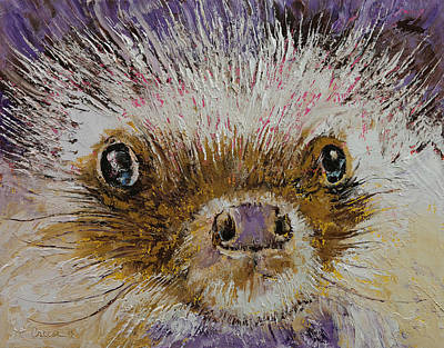 Impasto Oil Painting - Hedgehog by Michael Creese