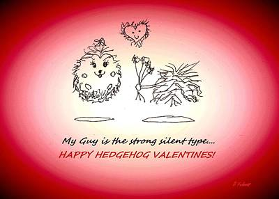 Drawing - Hedgehog Valentine's Day by Denise F Fulmer