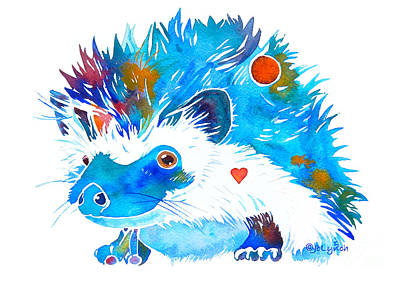 Painting - Hedgehog With Heart by Jo Lynch