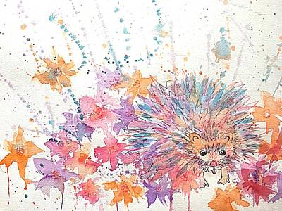 Painting - Hedgehog's 4th Of July by Ellen Levinson