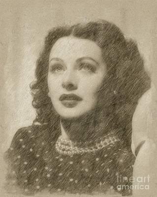 Fantasy Drawings - Hedy Lamarr, Actress by Frank Falcon