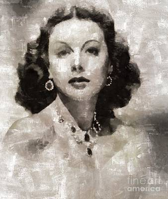 Elvis Presley Painting - Hedy Lamarr, Actress by Mary Bassett