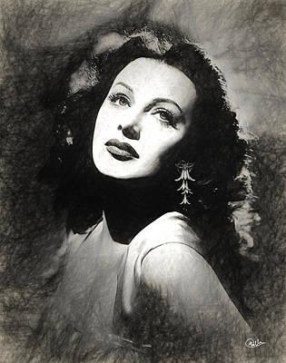 Hedy Lamarr Draw Art Print by Quim Abella