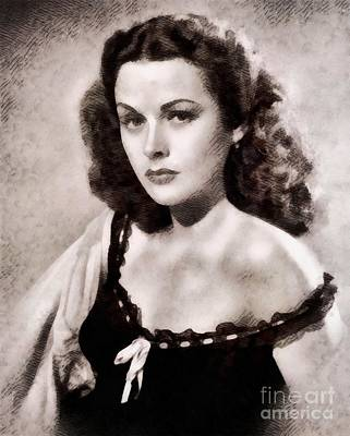 Musicians Royalty Free Images - Hedy Lamarr, Vintage Actress by John Springfield Royalty-Free Image by John Springfield