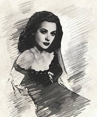 Musicians Drawings - Hedy Lamarr, Vintage Actress by John Springfield