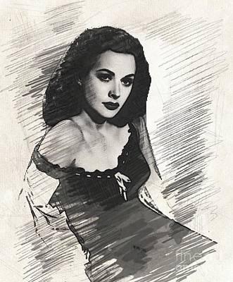 Hedy Lamarr Drawing - Hedy Lamarr, Vintage Actress by John Springfield