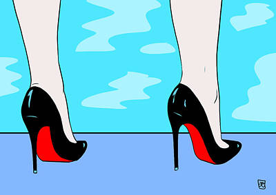 Drawing - Heels By The Pool by Giuseppe Cristiano