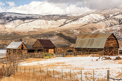 Photograph - Heeney Road Barns And Snow by Stephen Johnson