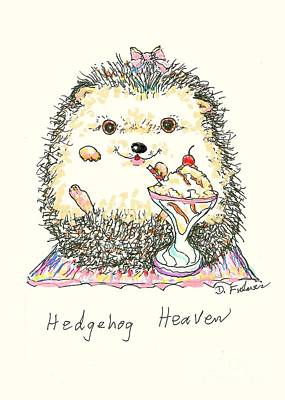 Ice-t Mixed Media - Hedgehog Heaven by Denise Fulmer