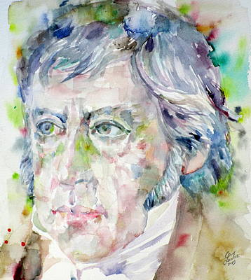 Hegel - Watercolor Portrait Original by Fabrizio Cassetta
