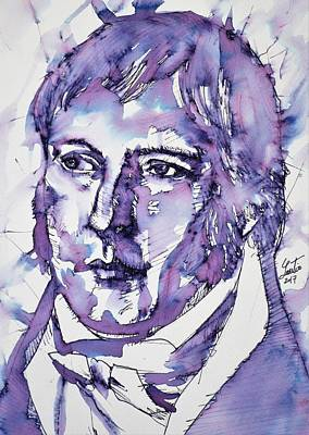 Painting - Hegel - Watercolor Portrait.2 by Fabrizio Cassetta
