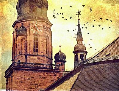 Photograph - Heidelberg Church Of The Holy Spirit Tower - Digital by Tatiana Travelways