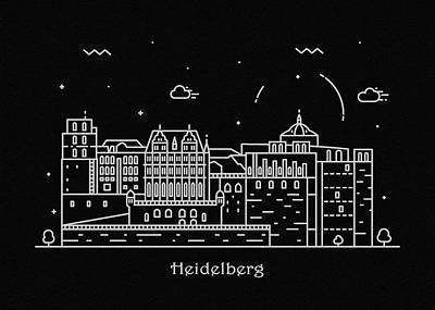 Abstract Landscape Drawing - Heidelberg Skyline Travel Poster by Inspirowl Design