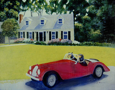Doberman Pinscher Painting - Heidi And Gretl Steal A Ride by David Zimmerman