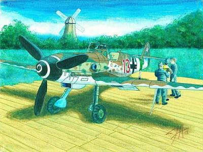 P51 Drawing - Heidi Red 13 by Dave Herrling