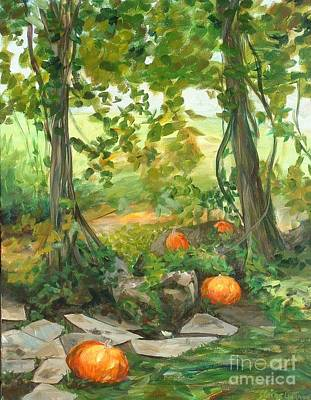 Painting - Heidi's Pumpkins by Claire Gagnon