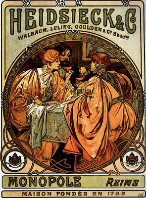 Heidsieck And Co   Art Print by Alphonse Maria Mucha