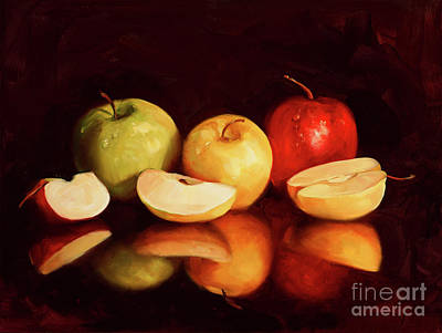 Of Fruit Painting - Hein Apples by Laurie Hein