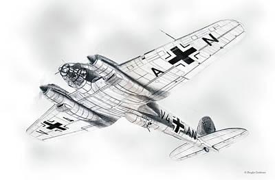 Drawing - Heinkel He111 H-2 by Douglas Castleman
