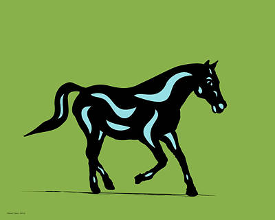 Digital Art - Heinrich - Pop Art Horse - Black, Island Paradise Blue, Greenery by Manuel Sueess