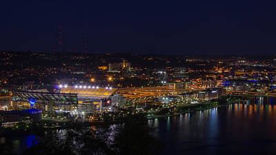 Heinz Field At Night From Mt Washington Art Print by Lori Coleman