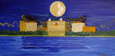 Pittsburgh Painting - Heinz Field Casting Three Rivers Shadow by Michele Moore