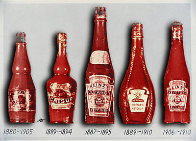 Painting - Heinz Tomato Ketchup Vintage, Evolution To 1910 by Tony Rubino