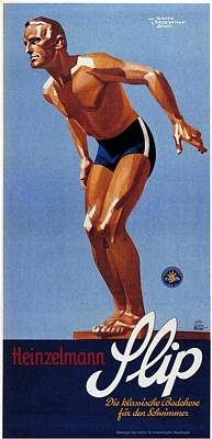 Royalty-Free and Rights-Managed Images - Heinzelmann Flip - Classic Badehose for Swimwear - Vintage Advertising Poster by Studio Grafiikka
