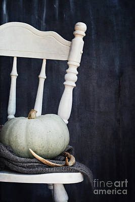 Photograph - Heirloom Pumpkin And Old Country Chair by Stephanie Frey