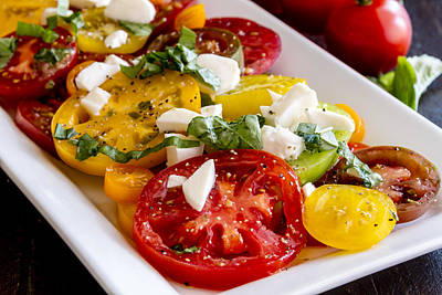 Photograph - Heirloom Tomatoes, Basil And Cheese by Teri Virbickis
