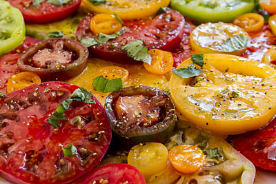 Photograph - Heirloom Tomatoes With Basil by Teri Virbickis