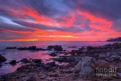 Art Print featuring the photograph Heisler Park Tide Pools At Dusk by Eddie Yerkish