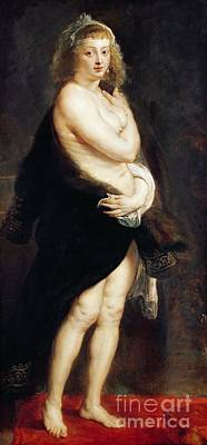 1636 Painting - Helena Fourment In A Fur Wrap by Rubens