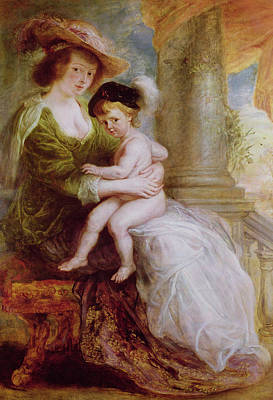 Voluptuous Painting - Helene Fourment And Her Son Frans by Rubens