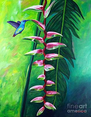 Painting - Heliconia Flower And Friend by Laura Forde